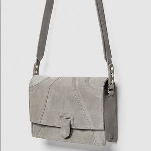 Zara NEW w/tag mini LEATHER light grey cross body
